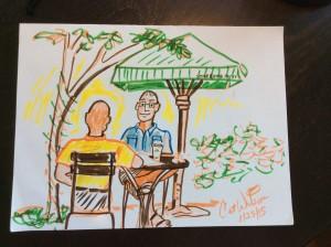Guys Talking - Sketch by Cat Wilson