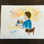 Playing with Robots - sketch of a boy having fun by Cat Wilson